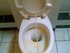 Dreckige Toilette vollgepinkelt