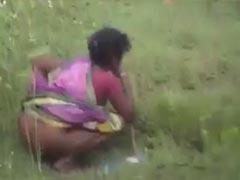 Indische Schlampe kackt auf Wiese