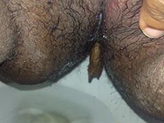Kackwurst wühlt sich durch Intimbehaarung